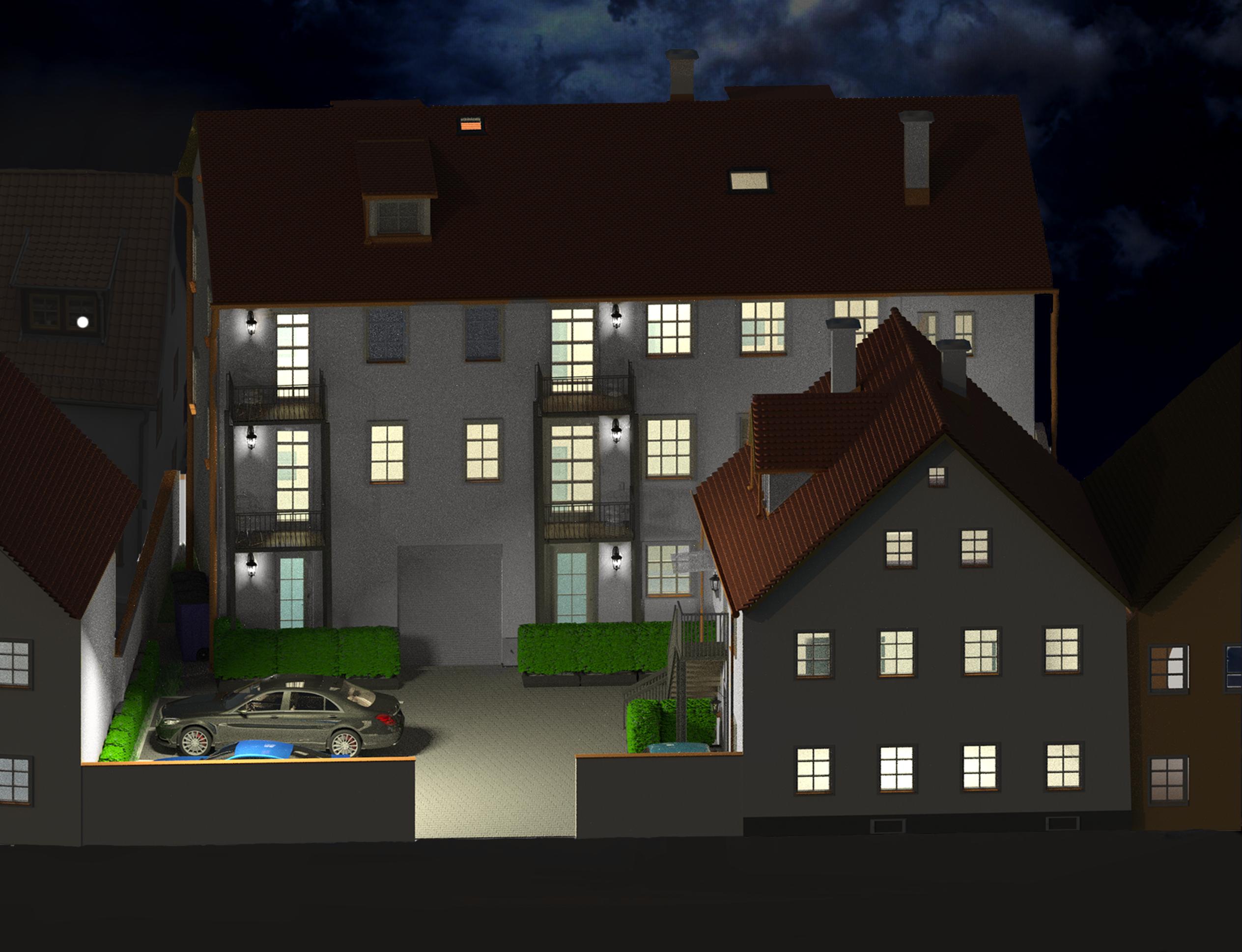 Visualisierung Innenhof bei Nacht