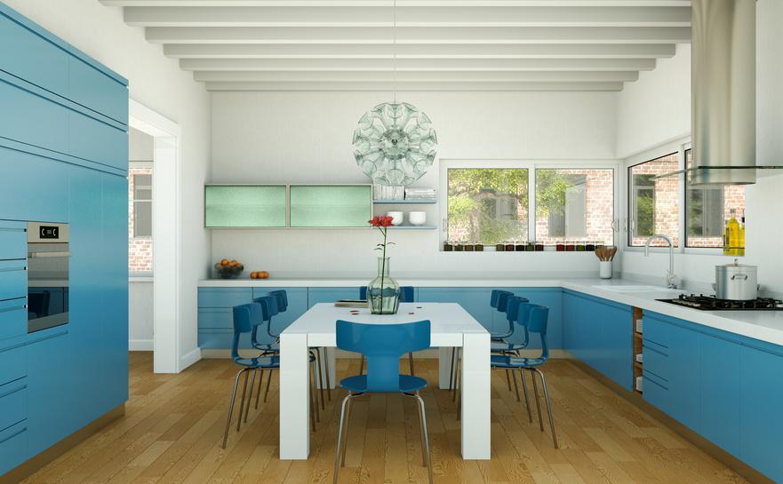 moderne Küche blau