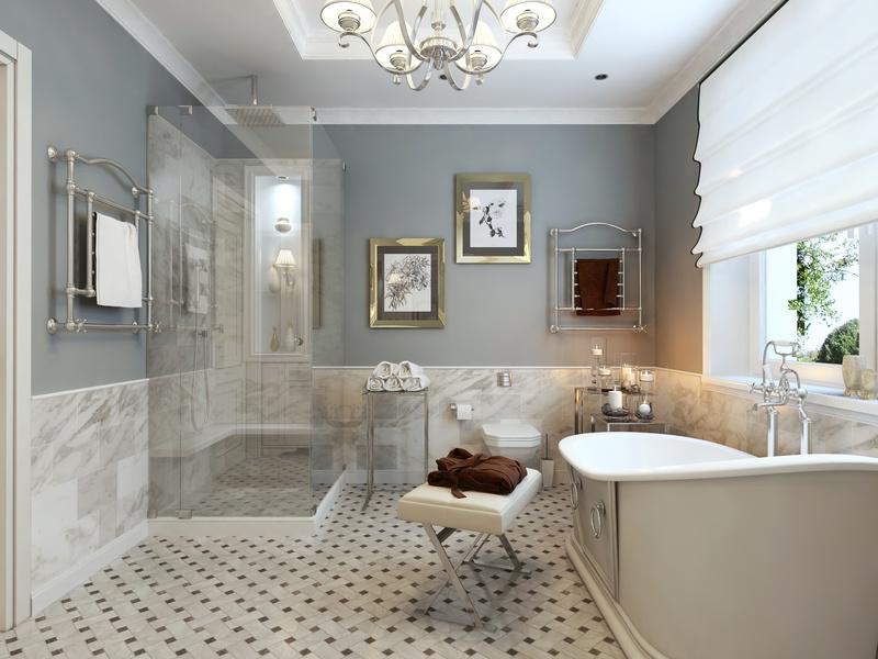 Bathroom classic style. 3d visualization